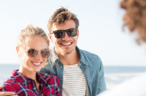 couple at beach smiling