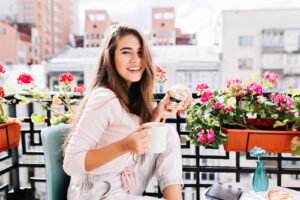Woman smiling on porch